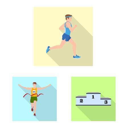Vector illustration of sport and winner symbol. Collection of sport and fitness stock vector illustration.