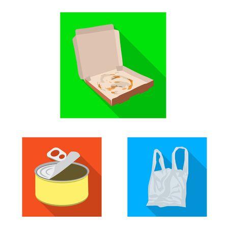 Isoliertes Objekt aus Müll und Junk-Schild. Satz von Abfall- und Abfallvorrat-Vektorillustration.