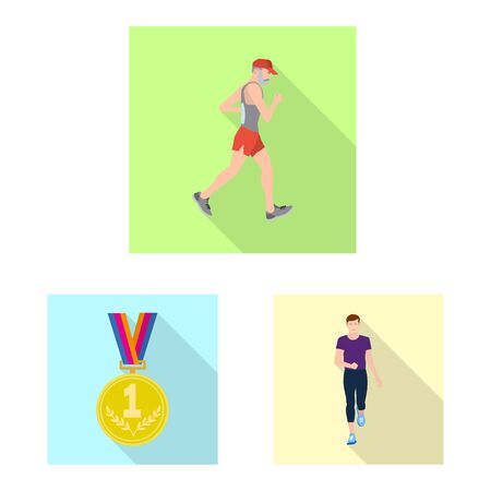 Vector design of sport and winner logo. Set of sport and fitness vector icon for stock.