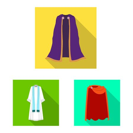Vector illustration of material and clothing sign. Set of material and garment stock symbol for web.