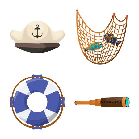 Vector design of marine and adventure icon. Set of marine and ocean stock vector illustration.
