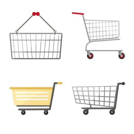 Vector illustration of cart and supermarket sign. Set of cart and pushcart stock vector illustration.