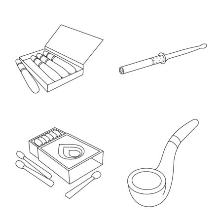 Isolated object of equipment and smoking icon. Set of equipment and smoker stock symbol for web.