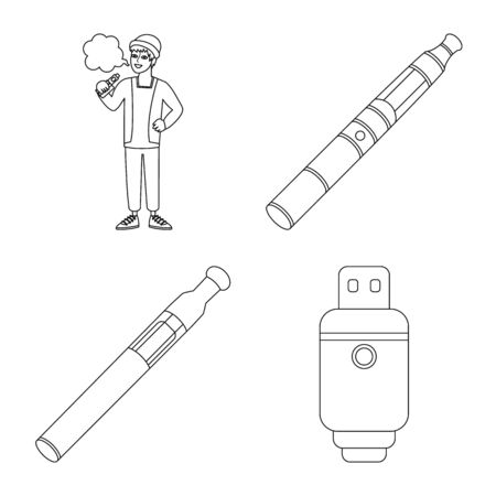 Isolated object of nicotine and filter sign. Collection of nicotine and pipe stock vector illustration.