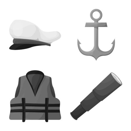 Vector design of nautical and voyage logo. Set of nautical and seafaring vector icon for stock.