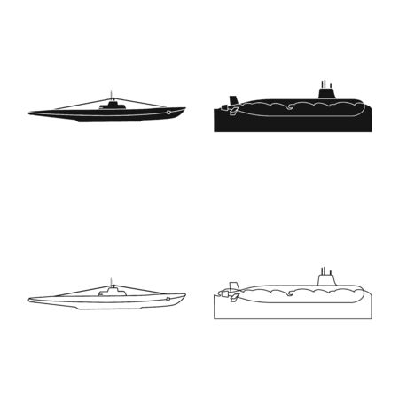 Vector illustration of war and ship icon. Set of war and fleet stock symbol for web. Ilustracja
