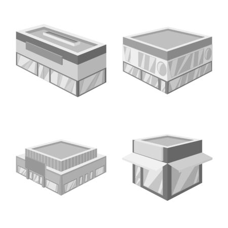 Isolated object of construction and showcase icon. Set of construction and architecture stock symbol for web.