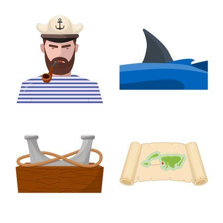 Vector design of marine and adventure icon. Set of marine and ocean vector icon for stock. Stock Illustratie