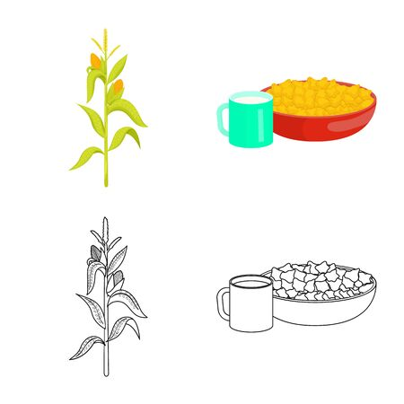 Vector design of cornfield and vegetable symbol. Set of cornfield and vegetarian vector icon for stock. 矢量图像