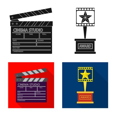 Isolated object of television and filming symbol. Collection of television and viewing vector icon for stock. Vektorové ilustrace