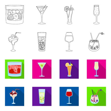 Isolated object of liquor and restaurant symbol. Set of liquor and ingredient stock vector illustration.