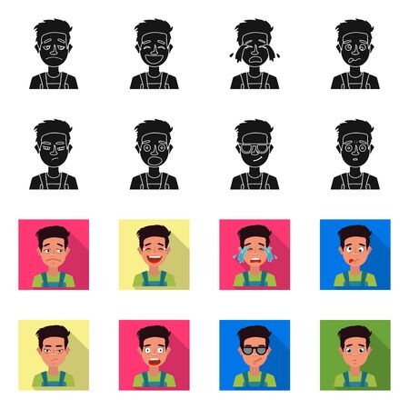 Vector illustration of face and boy icon. Set of face and expression stock vector illustration.