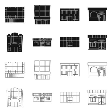 Vector design of supermarket and building icon. Set of supermarket and local vector icon for stock.