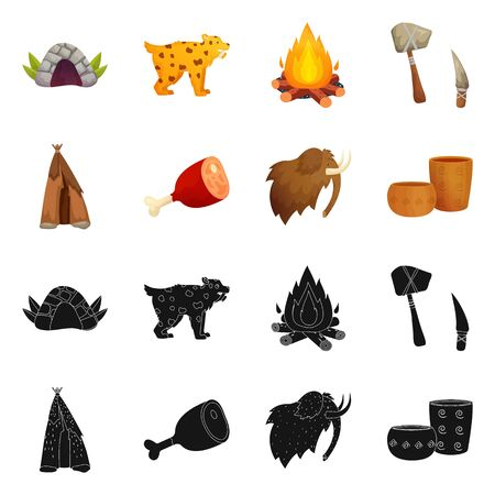 Isolated object of evolution and neolithic sign. Collection of evolution and primeval vector icon for stock. Ilustração