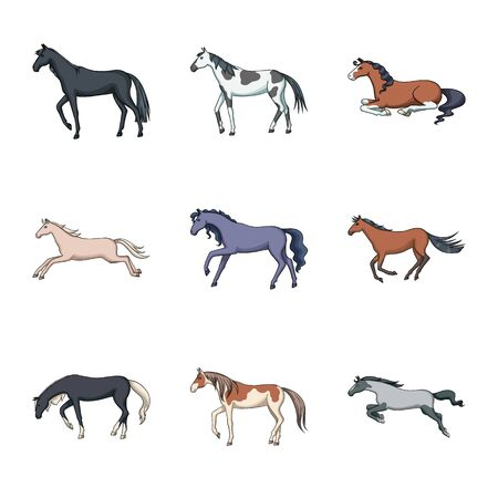 Vector design of animal and stallion sign. Collection of animal and farm vector icon for stock.