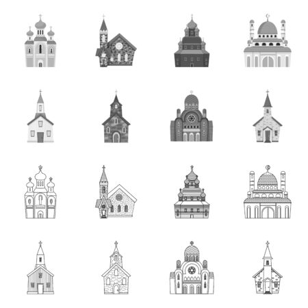 Vector design of cult and temple icon. Collection of cult and parish stock vector illustration. Illustration