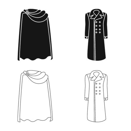 Vector illustration of material and clothing icon. Collection of material and garment vector icon for stock. Ilustrace