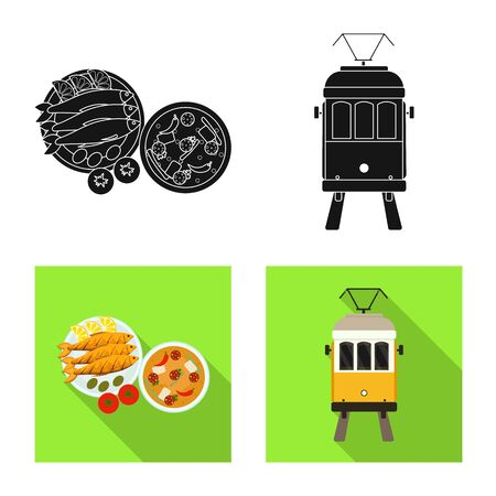Isolated object of and historic sign. Set of and country vector icon for stock. Vettoriali