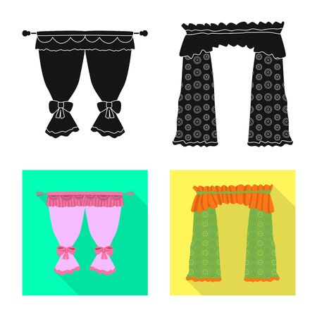 Isolated object of curtains and drapes sign. Set of curtains and blinds stock vector illustration. Illustration