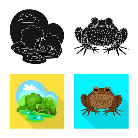 Isolated object of wildlife and bog icon. Set of wildlife and reptile stock symbol for web.