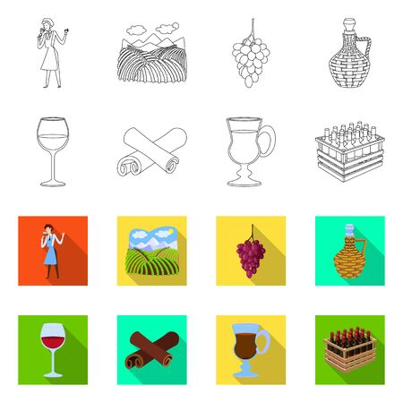 Vector illustration of farm and vineyard symbol. Set of farm and product vector icon for stock. Çizim