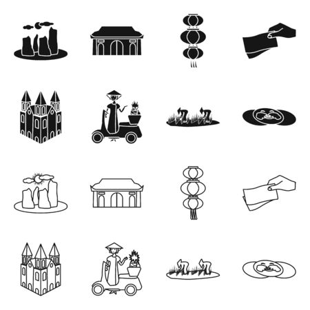 Isolated object of vietnam and traditional sign. Set of vietnam and culture vector icon for stock.
