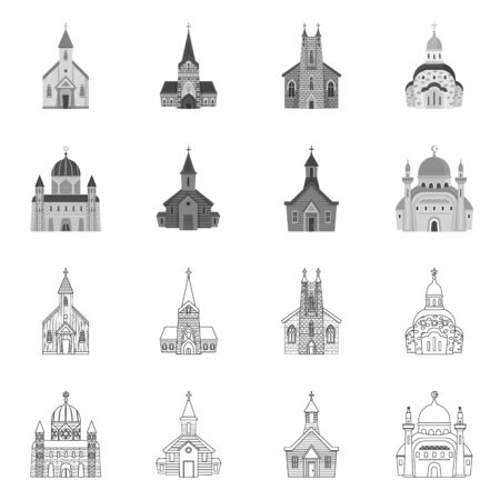 Vector design of cult and temple sign. Set of cult and parish stock vector illustration. 일러스트