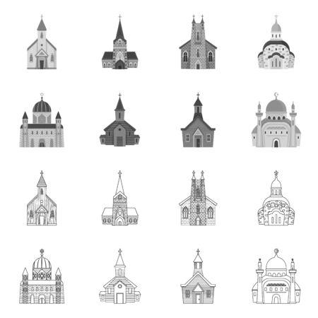 Vector design of cult and temple sign. Set of cult and parish stock vector illustration. Ilustração