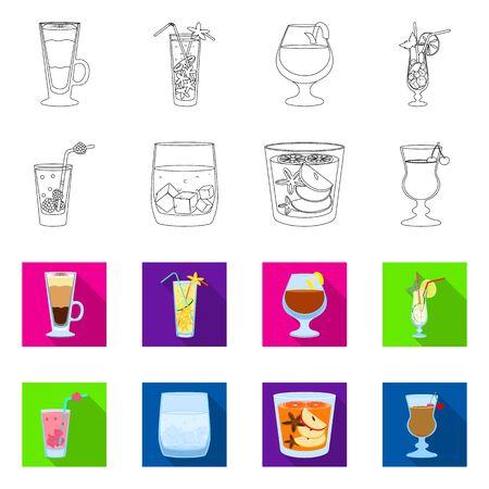 Vector design of liquor and restaurant icon. Set of liquor and ingredient vector icon for stock. Çizim