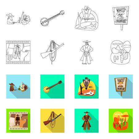 Diseño vectorial de texas e icono de historia. Conjunto de símbolo de stock de texas y cultura para web.