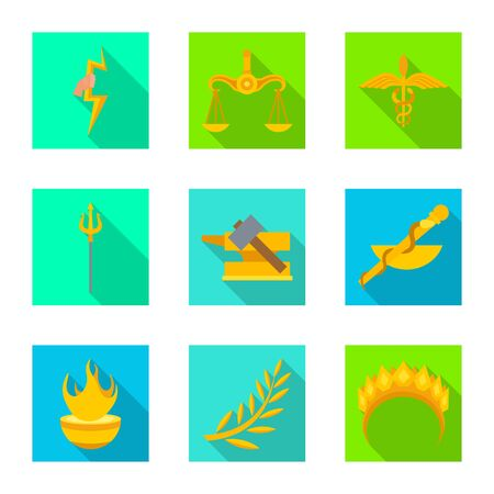 Vector design of deity and antique symbol. Set of deity and myths vector icon for stock.