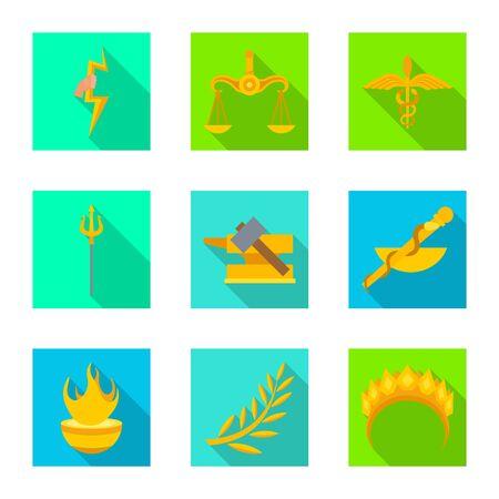 Vector design of deity and antique symbol. Set of deity and myths vector icon for stock. Stock Vector - 130321392