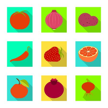Vector illustration of fresh and red symbol. Set of fresh and organic stock vector illustration. Çizim