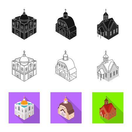 Isolated object of temple and historic logo. Set of temple and faith stock symbol for web.