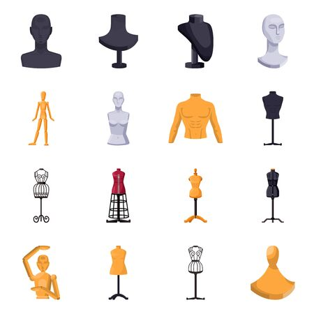 Isolated object of mannequin and fashion icon. Set of mannequin and form stock symbol for web. Illustration