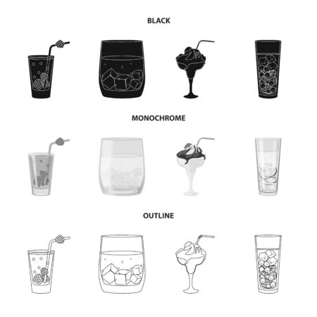 Isolated object of liquor and restaurant logo. Collection of liquor and ingredient vector icon for stock.