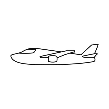 Isolated object of plane and white sign. Collection of plane and wing vector icon for stock. Ilustração