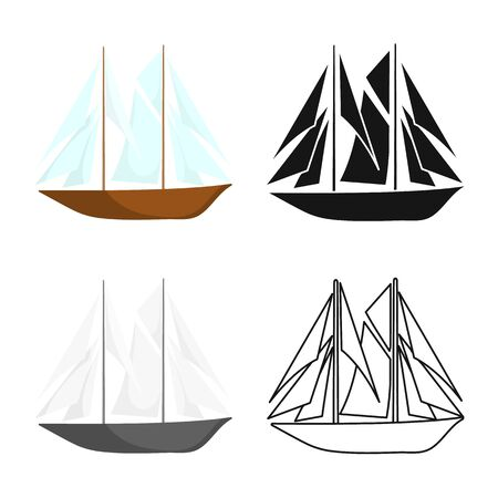 Vector illustration of yacht and sail symbol. Collection of yacht and regatta stock symbol for web. Vettoriali