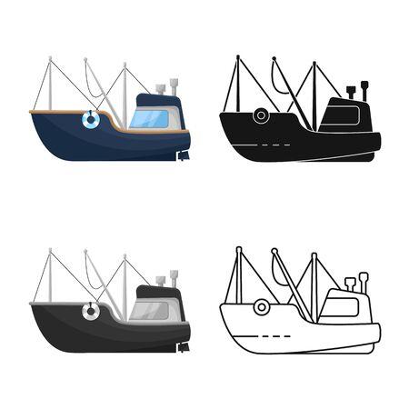 Vector design of fishing and trawler symbol. Set of fishing and fishery stock symbol for web.