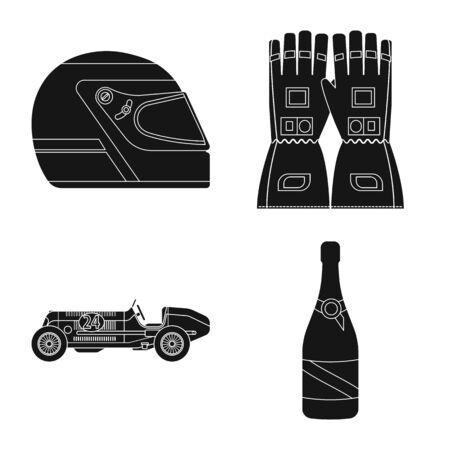 Vector design of car and rally icon. Collection of car and race stock vector illustration. Çizim