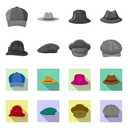 Isolated object of headgear and cap symbol. Set of headgear and accessory vector icon for stock.