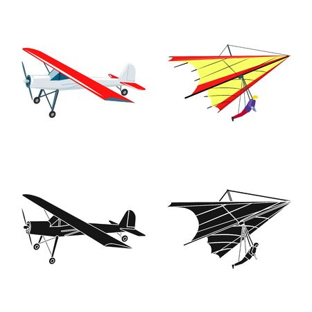 Vector illustration of plane and transport symbol. Set of plane and sky stock vector illustration.
