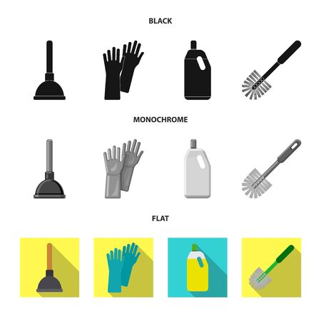 Vector illustration of cleaning and service icon. Collection of cleaning and household stock symbol for web.