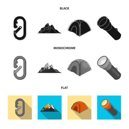 Vector design of mountaineering and peak logo. Collection of mountaineering and camp vector icon for stock. Çizim