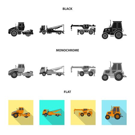 Vector illustration of build and construction icon. Set of build and machinery vector icon for stock. Çizim