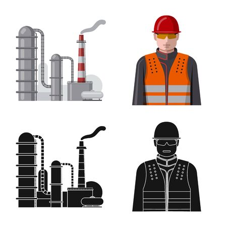 Vector illustration of oil and gas sign. Set of oil and petrol stock symbol for web.