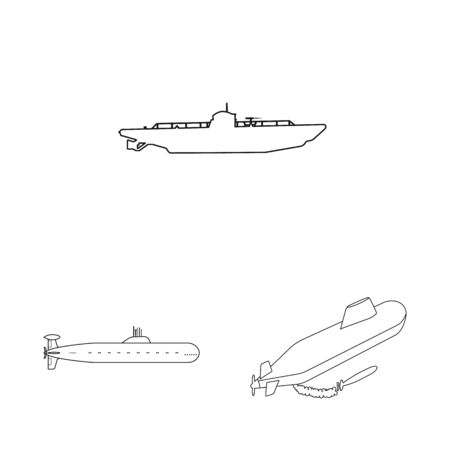 Vector illustration of boat and navy icon. Set of boat and deep stock symbol for web.