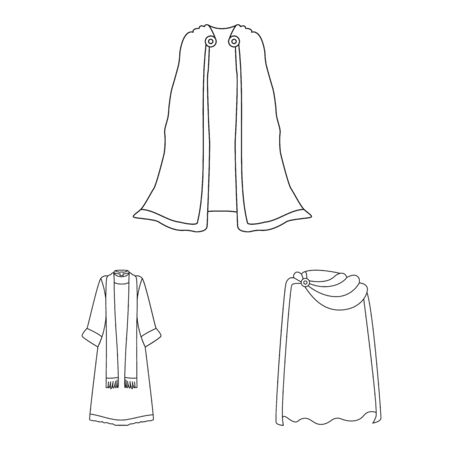 Vector illustration of robe and garment symbol. Set of robe and cloth stock symbol for web.