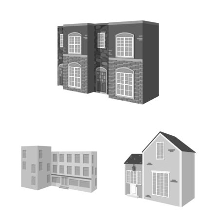 Vector illustration of architecture and estate symbol. Set of architecture and housing stock symbol for web. 矢量图像