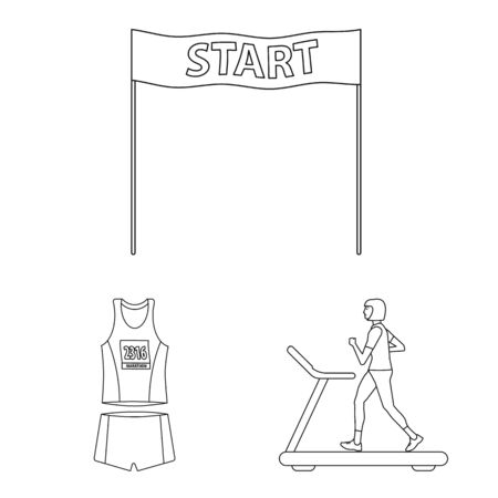 Isolated object of exercise and sprinter icon. Collection of exercise and marathon vector icon for stock.